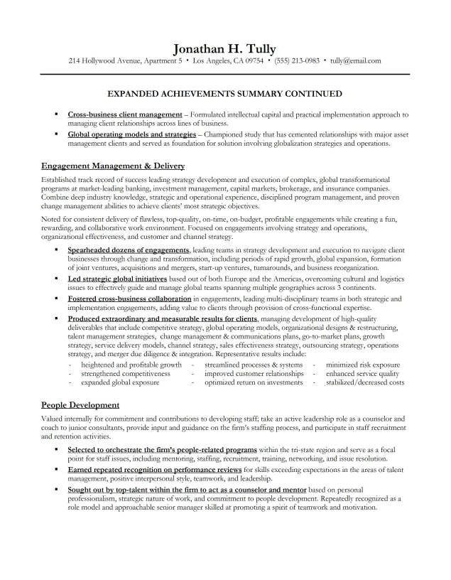 resume summary examples - Resume Achievements