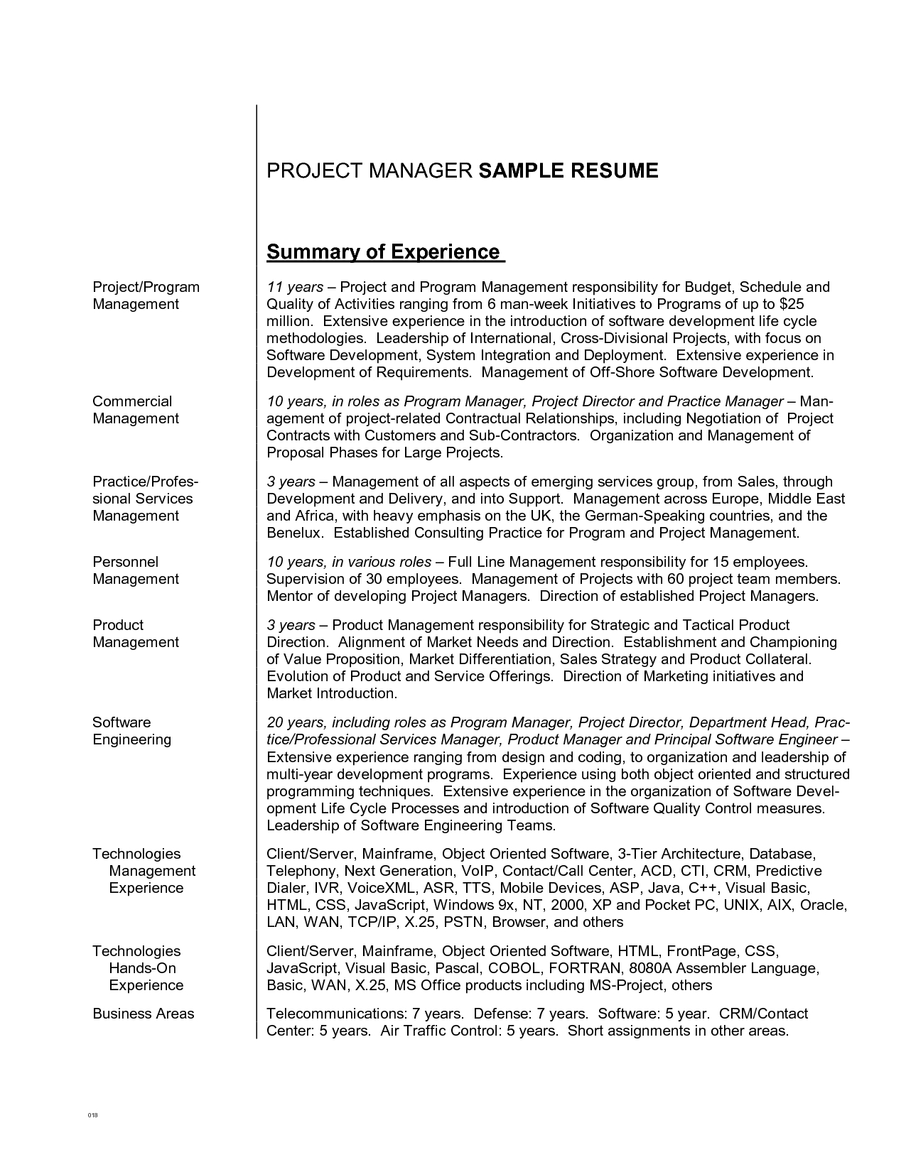 Resume Summary Examples Obfuscata – Contract Summary Template