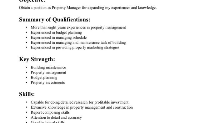 Property Manager Resume Example Apartment Manager Resume Sample