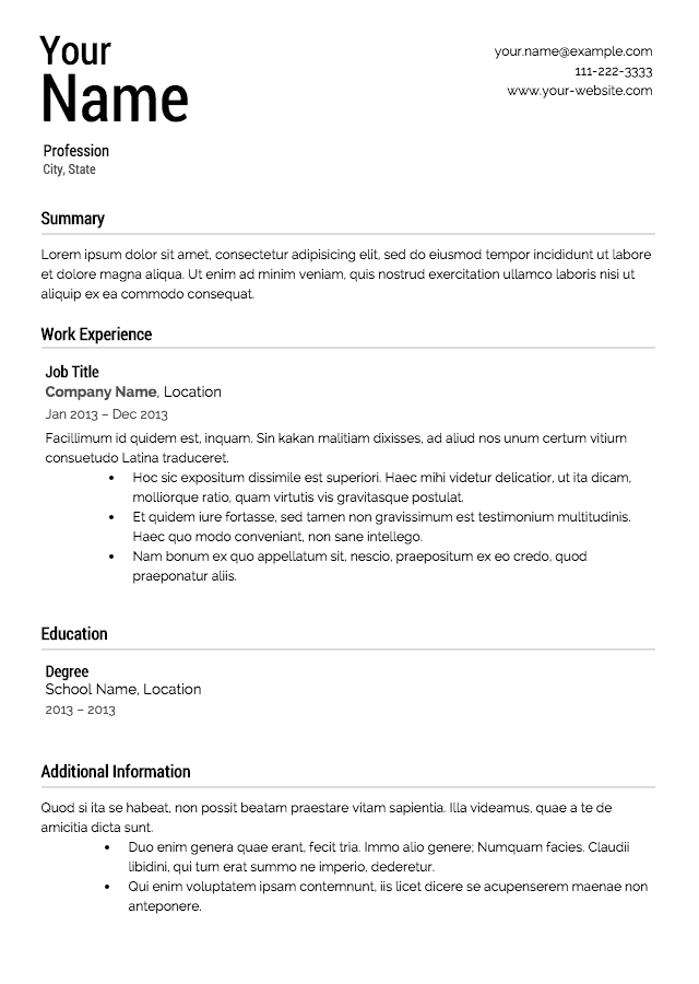 Good Resume Templates | Resume Format Download Pdf