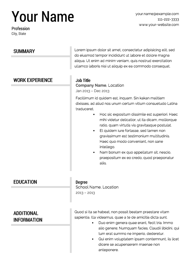 Templates Of Resumes | Resume Format Download Pdf