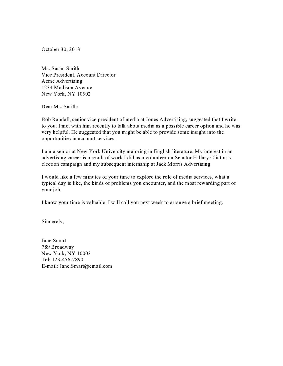 Sample cover letter for applying a job for Cover letter smaples