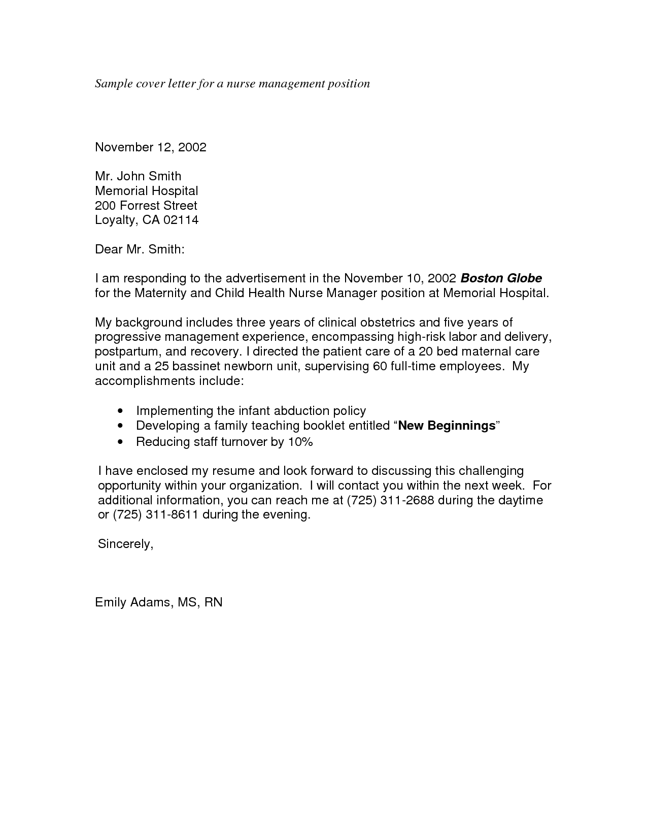 Sample cover letter for applying a job for Applying for management position cover letter