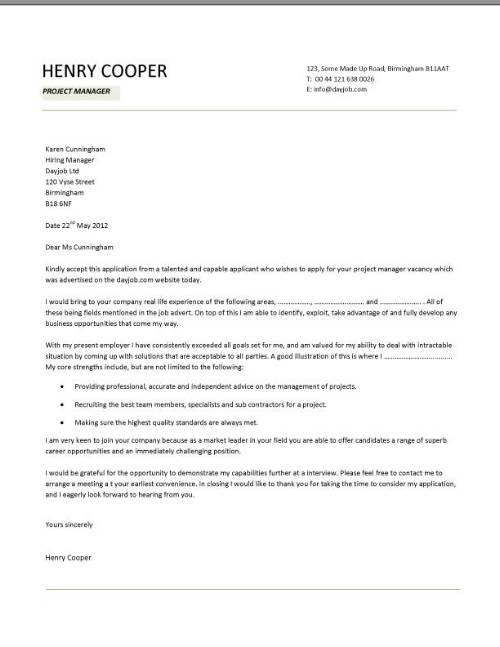 Cover Letter for Applying a Job