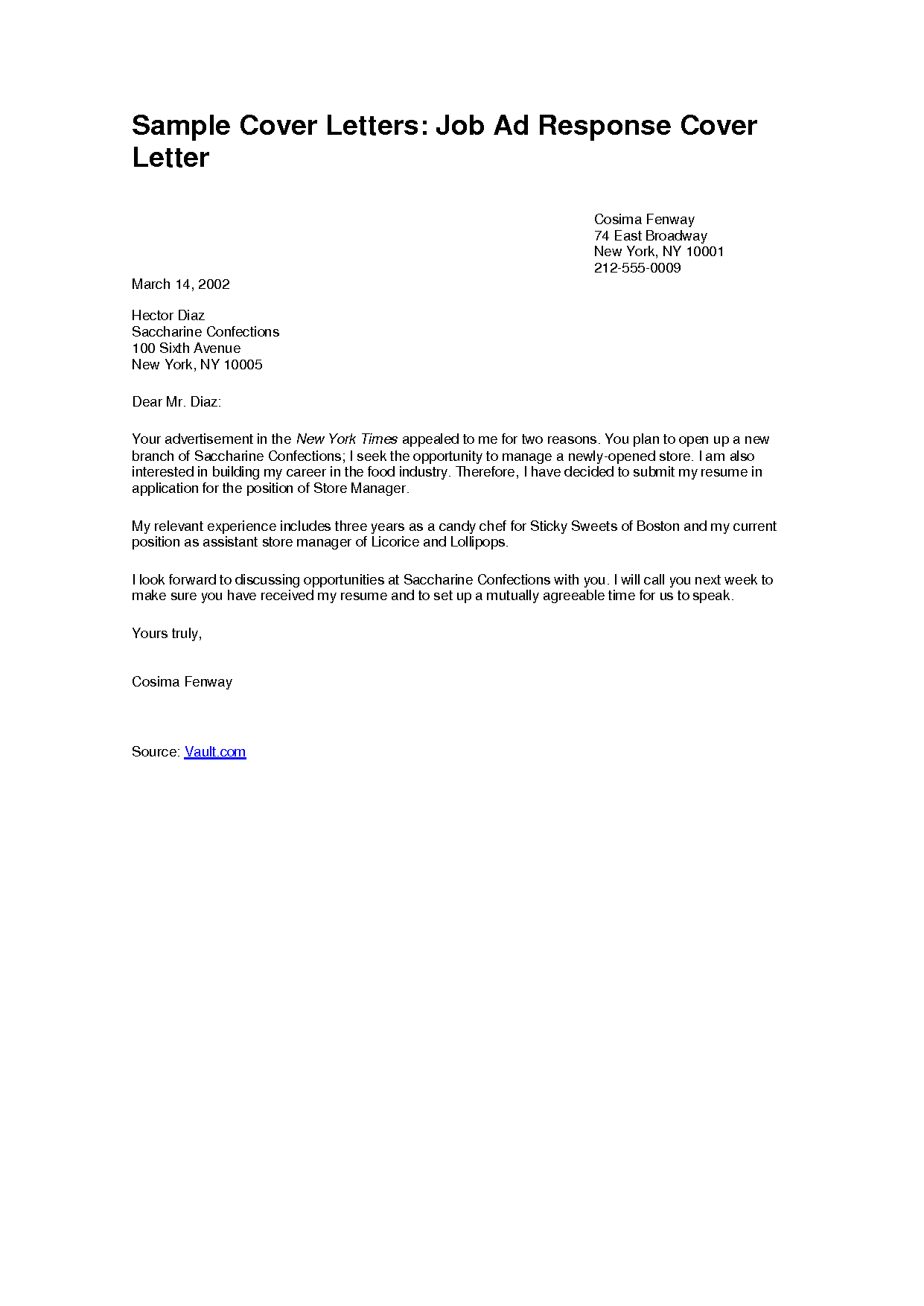 sample cover letters in response to ad job application letter