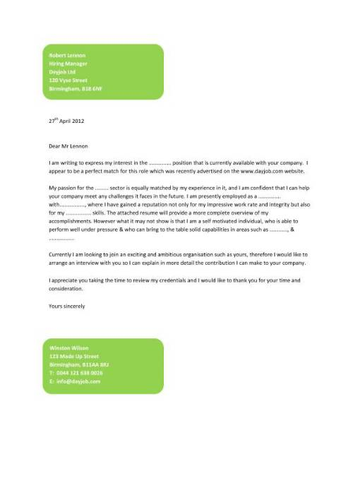 Sample Cover Letter Format For Job Application  Obfuscata
