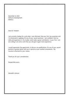 sample cover letter format for job application - Covering Letter Format For Job Application
