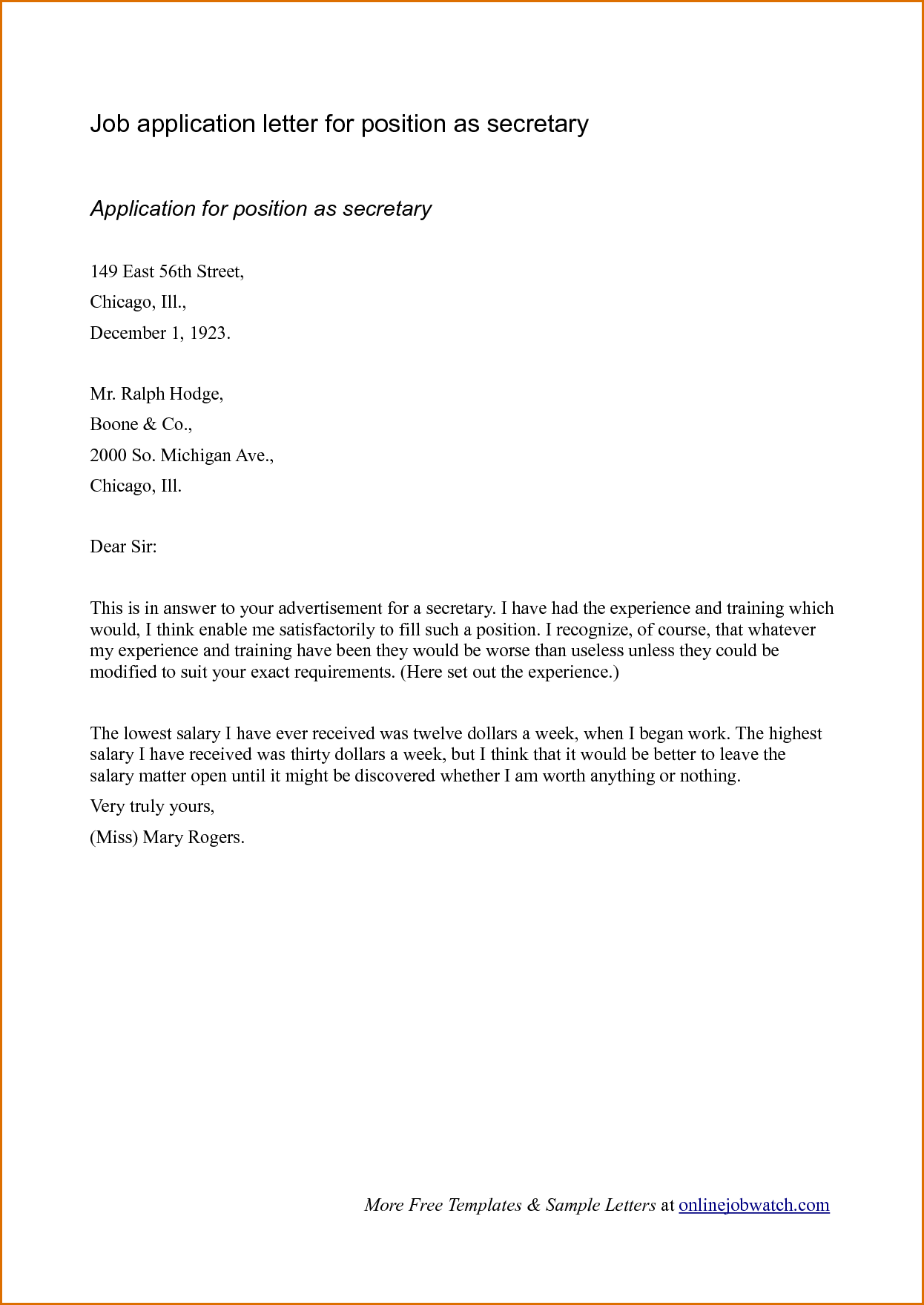 Sample cover letter format for job application for Example of a cover letter when applying for a job