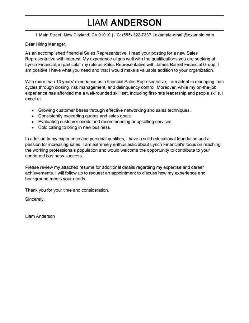 sample cover letter for online application