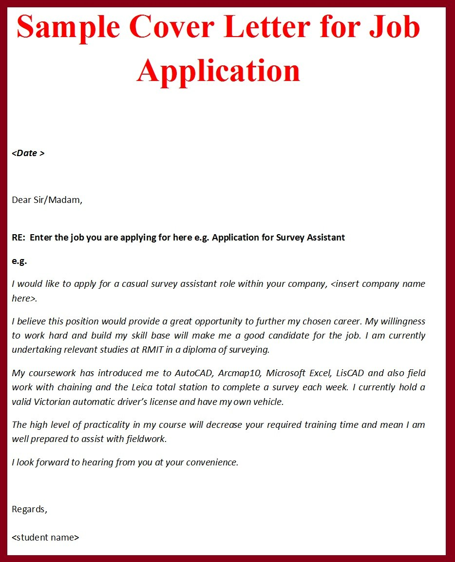 Sample cover letter format for job application for Layout of cover letter for job application