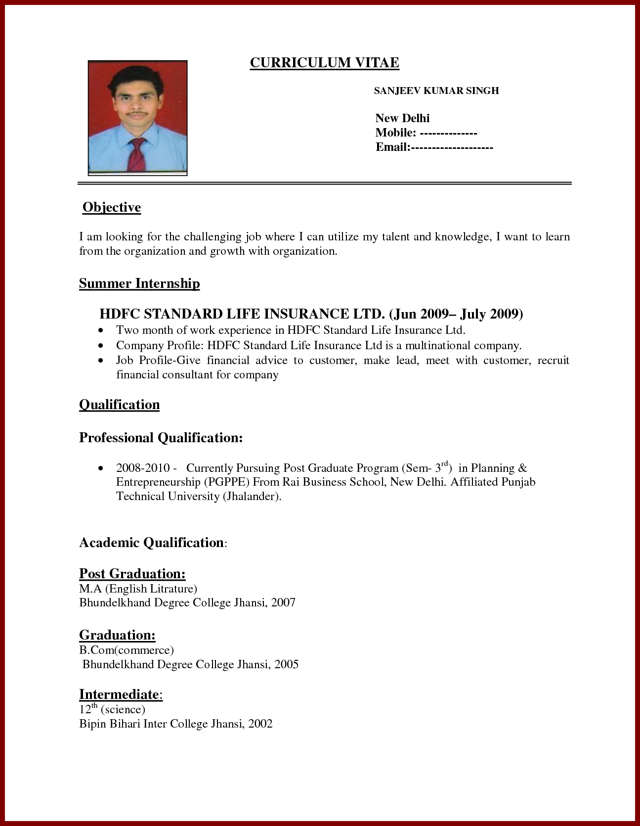 Sample Resume Bio Data Obfuscata