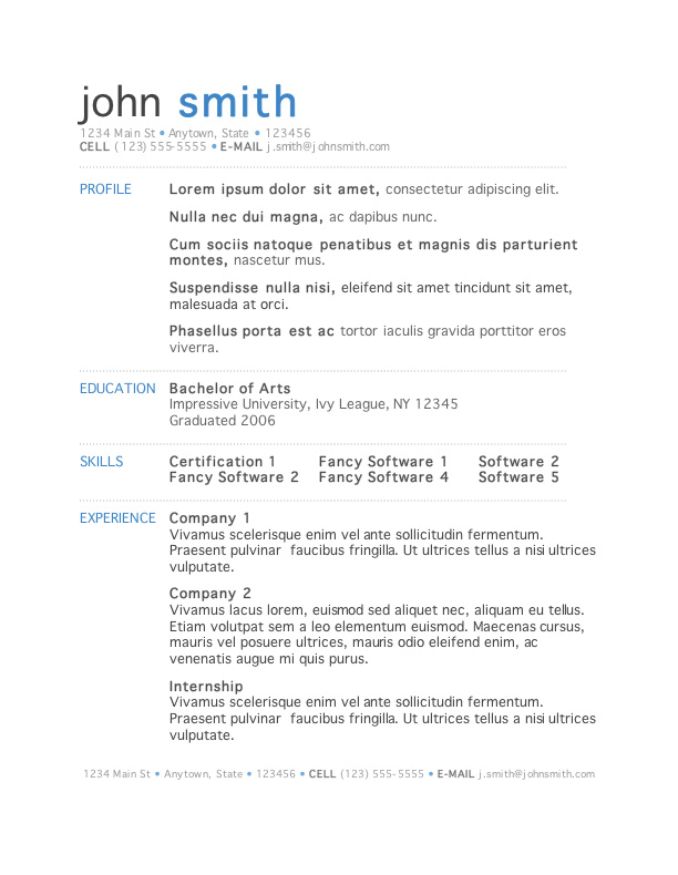 Free Downloadable Resume Templates - Obfuscata
