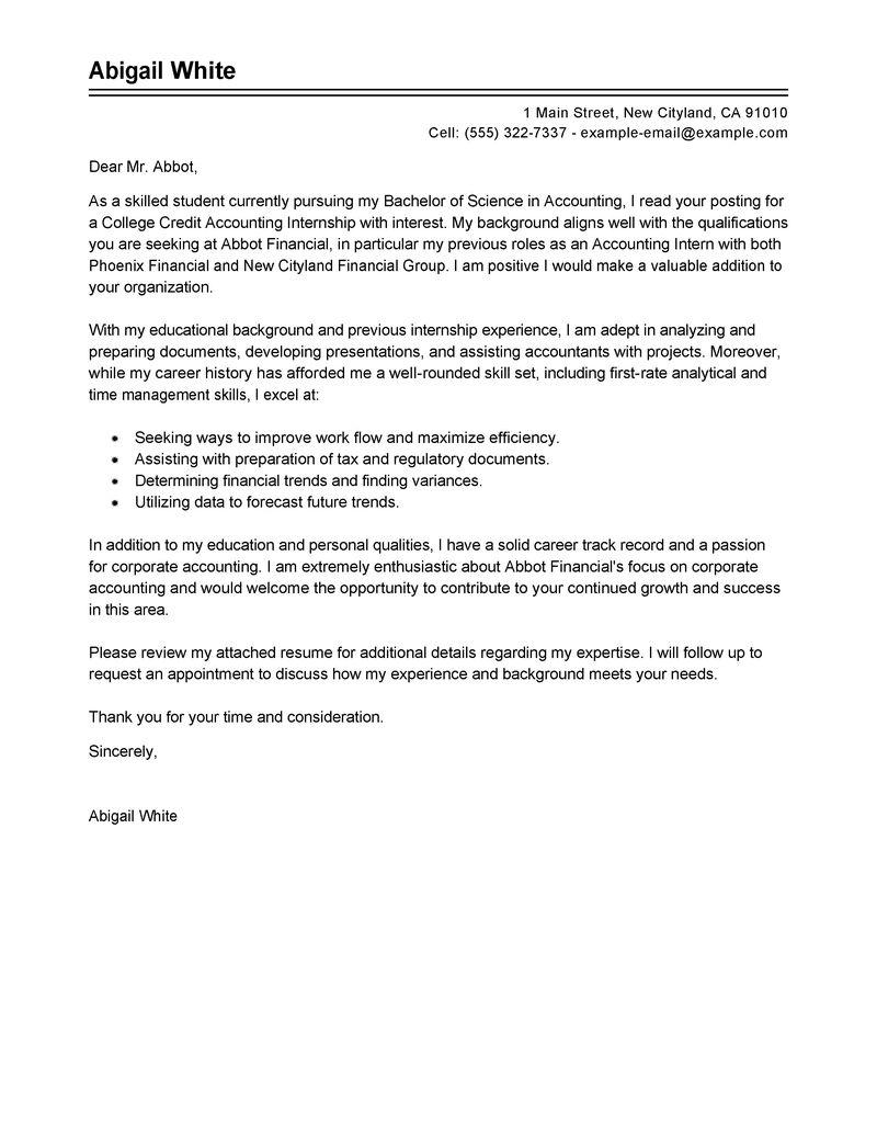 writing internship cover letter