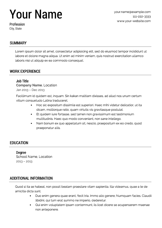 Resume Template Styles