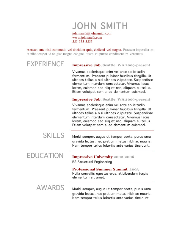 Word Resume Templates Freecvtemplateforword Freecvtemplateforword