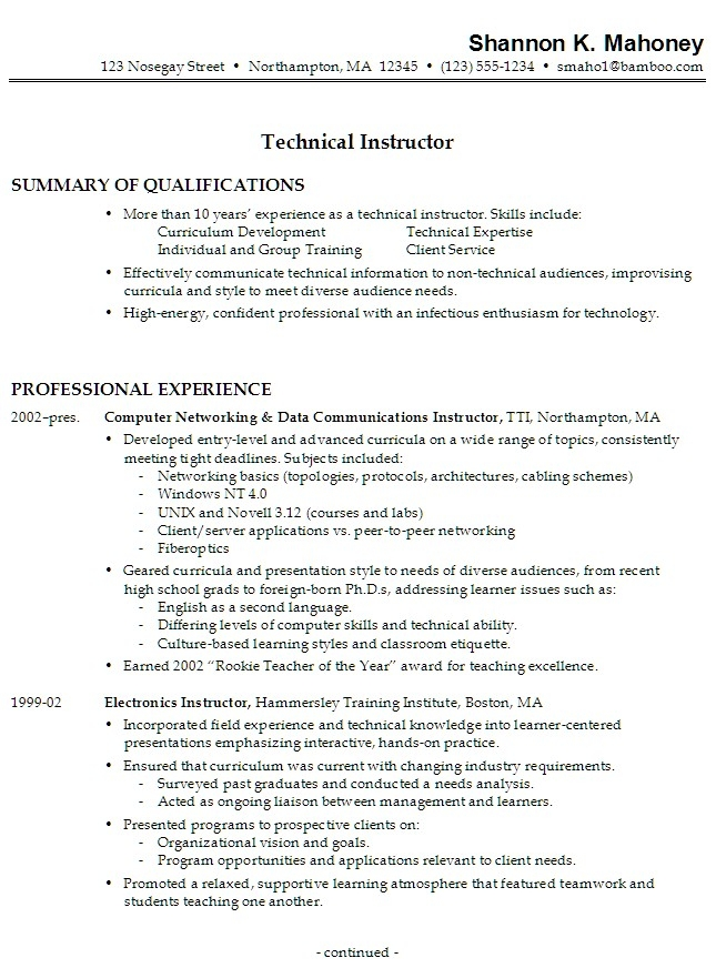 resume work experience samples