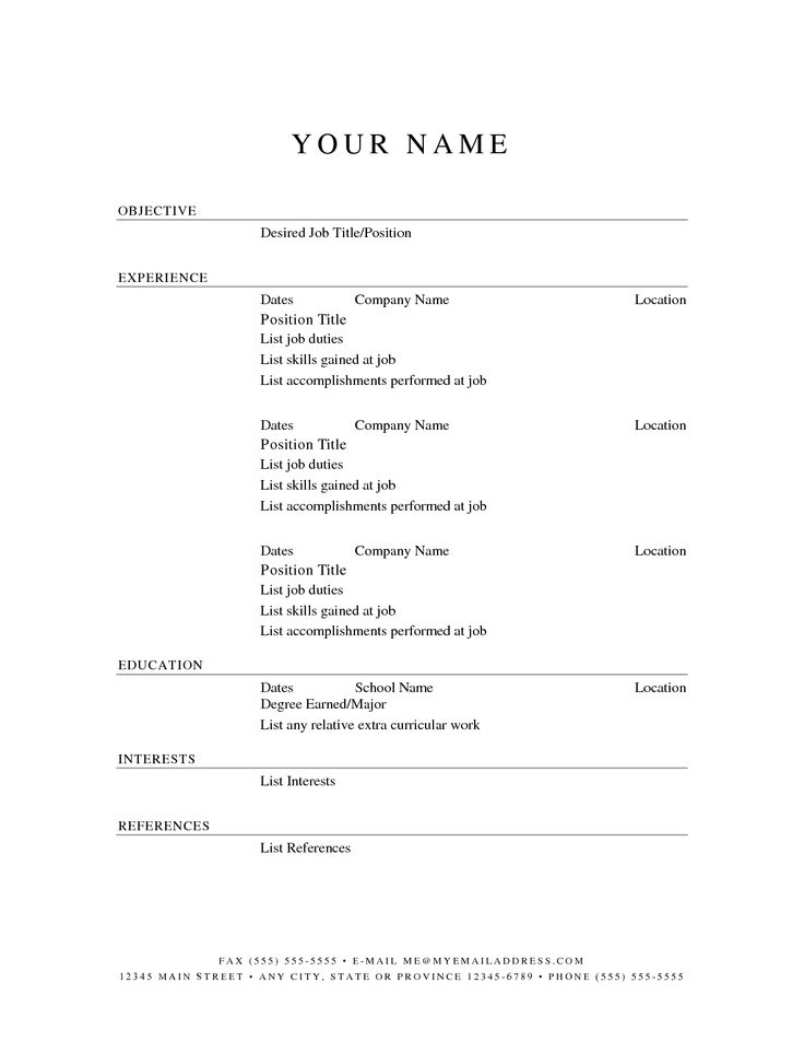 Awesome Simple Resume Template Word Free Templates Examples Of
