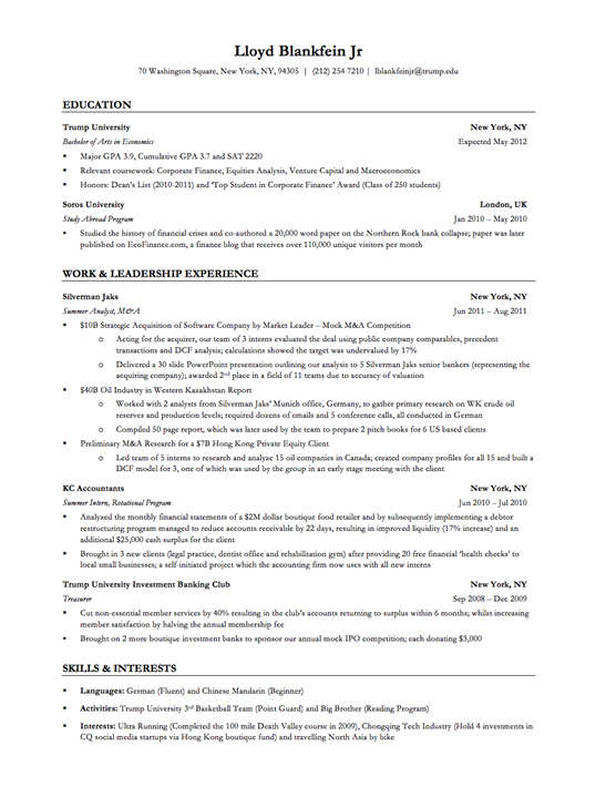 Achievement Resume