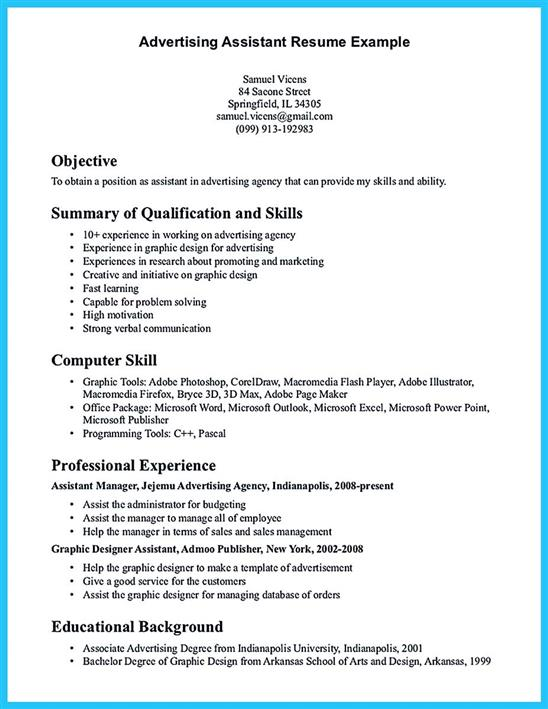 sample advertising assistant resume 16 free sample advertising