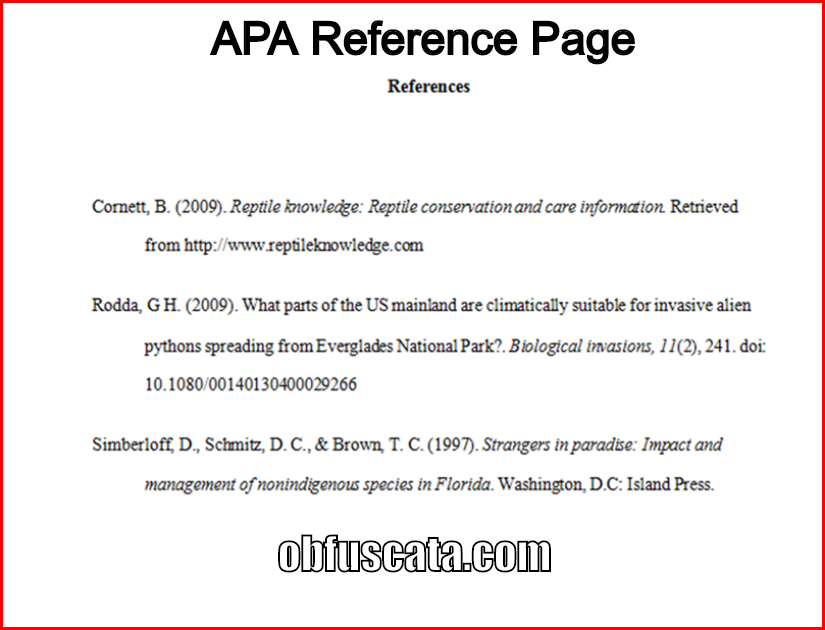 What Is Apa Reference Page