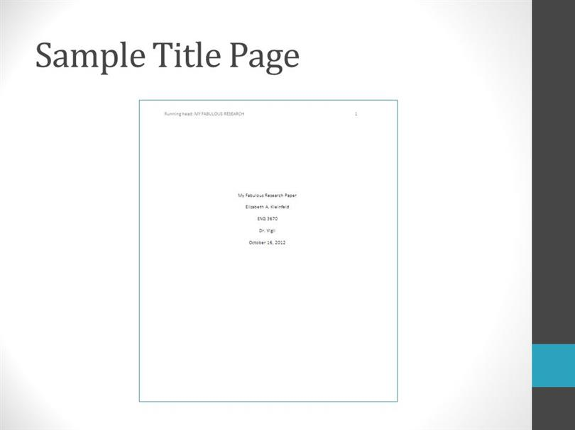 Sample essay title page