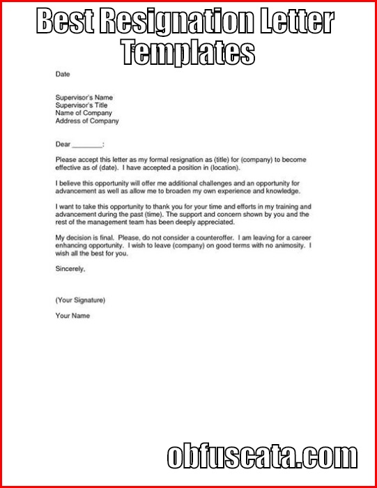 Best resignation letter templates img expocarfo Choice Image