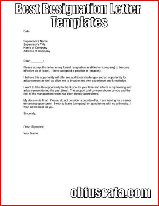 resignation templates