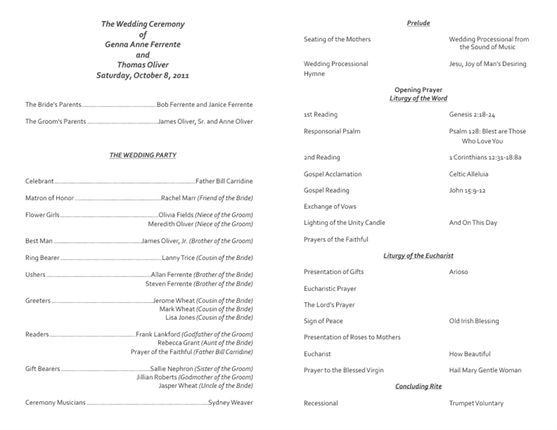 Best wedding program templates for Programs for wedding ceremony template