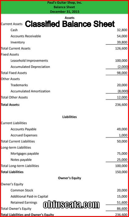 Obfuscata  Balance Sheet Classified Format