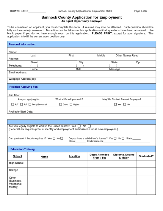 Job Application Form Examples