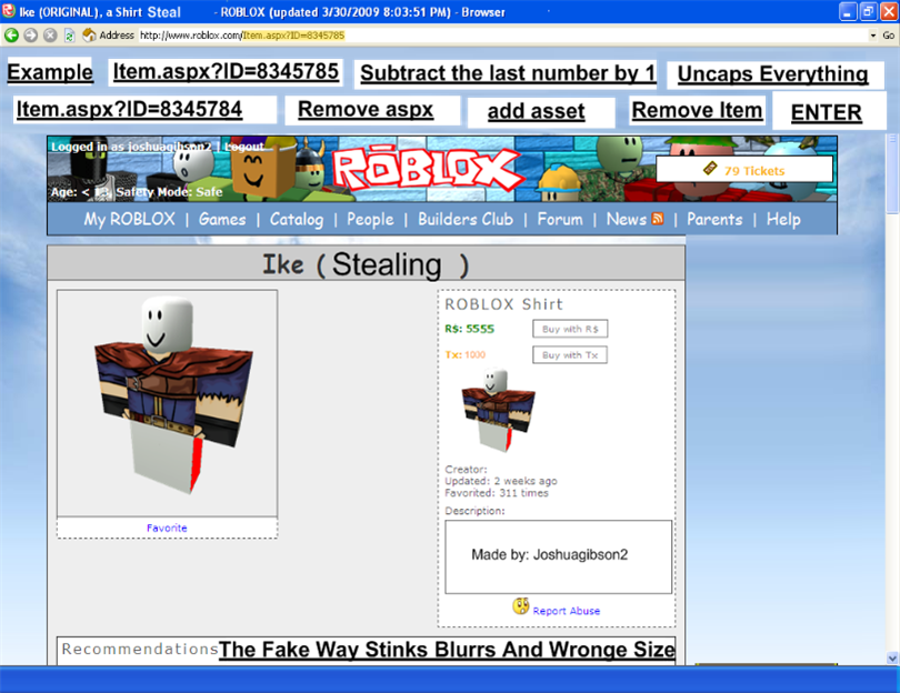 how to get id from clothes in catolog in roblox