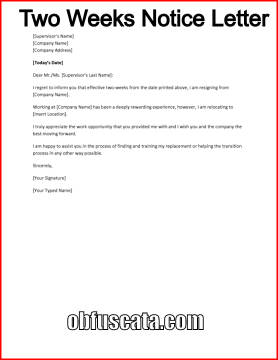 How to write a two weeks notice letter expocarfo Choice Image