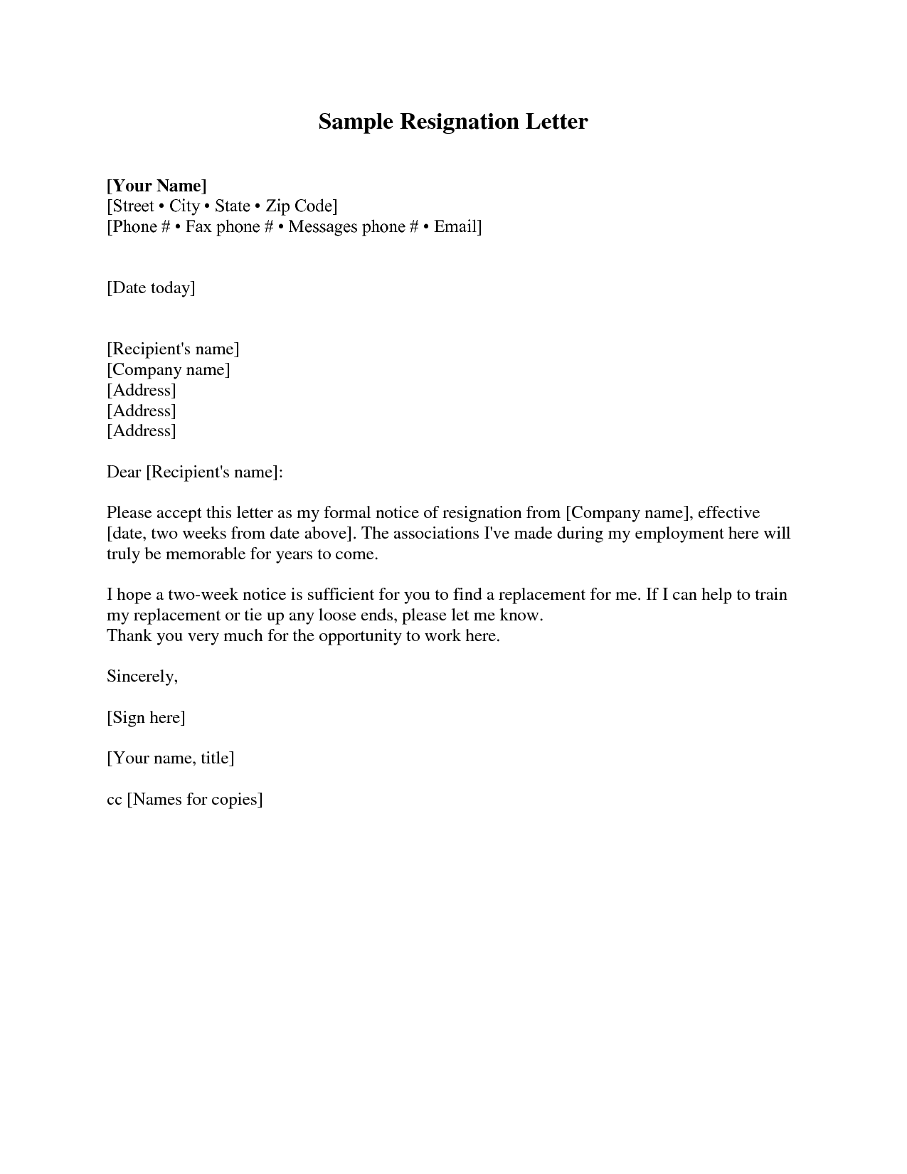 Two weeks' notice resignation letter samples