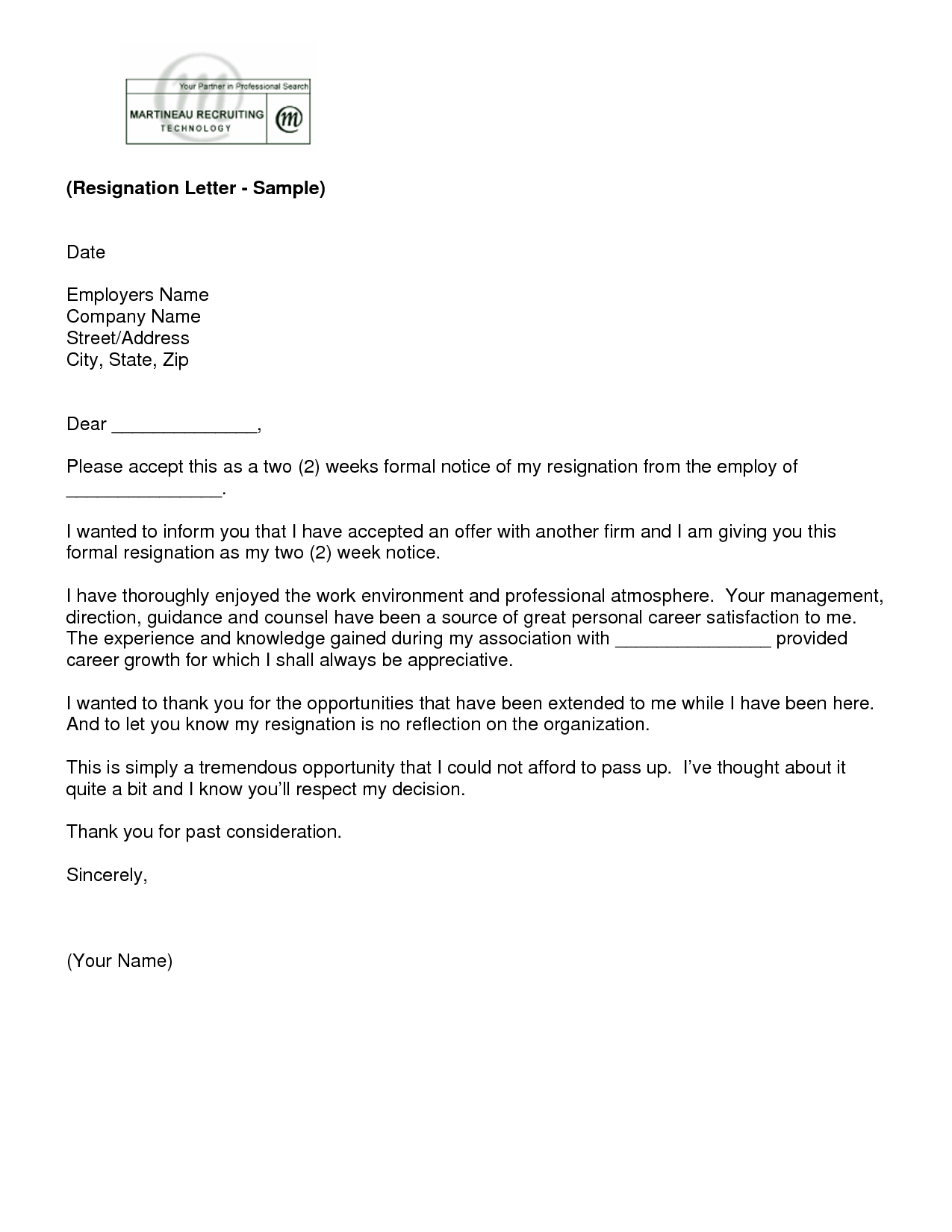 Two Weeksu0027 Notice Resignation Letter Samples  Two Weeks Notice Letter