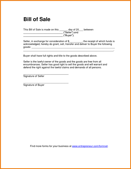 Great Bill Of Sales Template Pertaining To Bill Of Sale For Goods