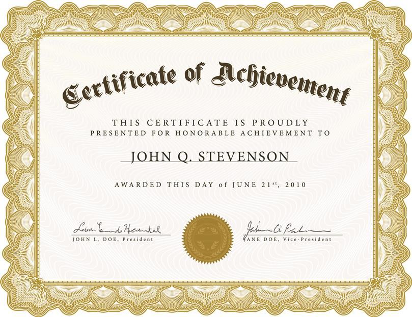 Achievement certificate template insrenterprises achievement certificate template yelopaper Images