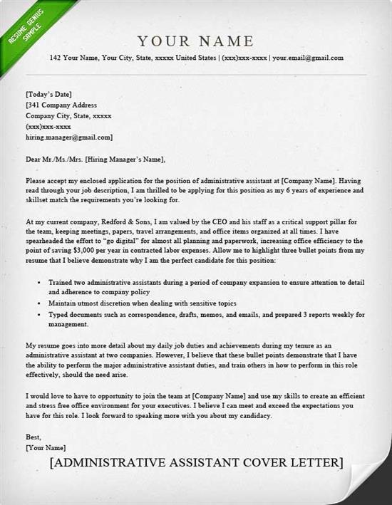 assistant registrar cover letter