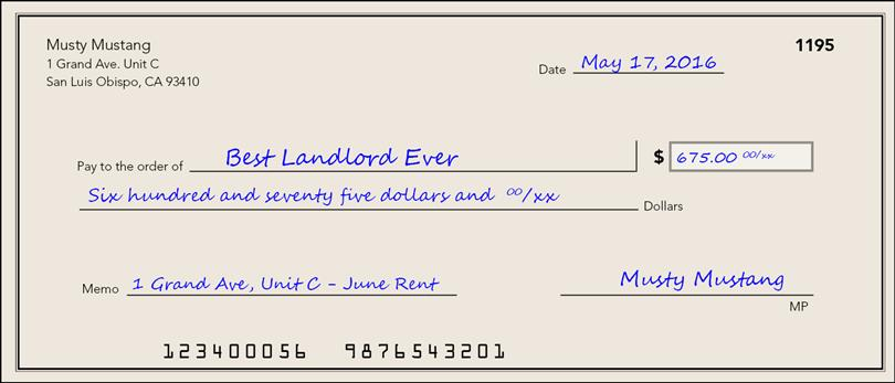 how to write a check for