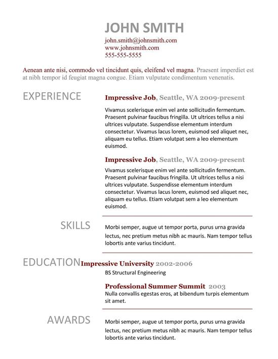 Impressive Job Resume