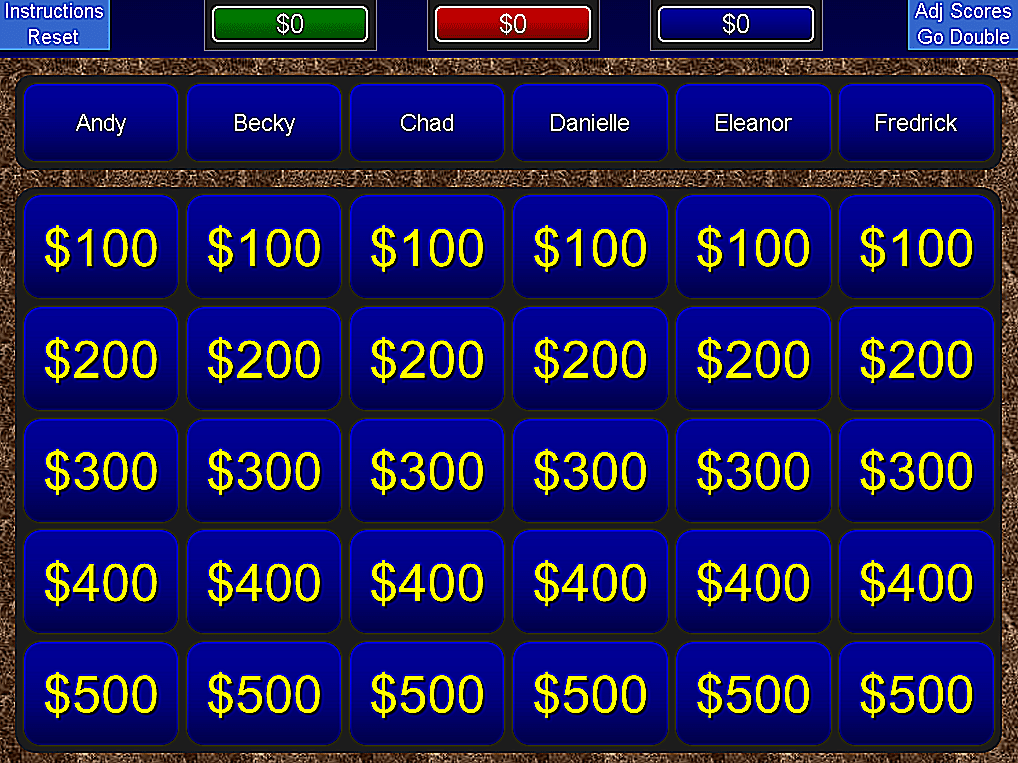 Jeopardy Templates