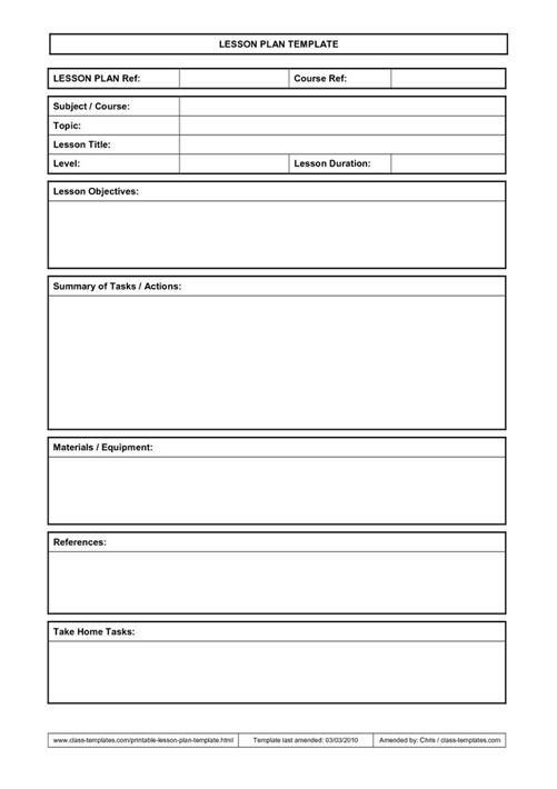 Points To Note In Lesson Plan Template
