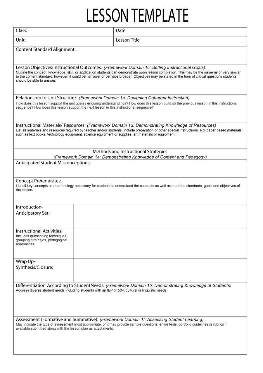 Danielson framework lesson plan template lined paper template for word what is lesson plan template lesson plan templates 23 what is lesson plan template 7202html saigontimesfo