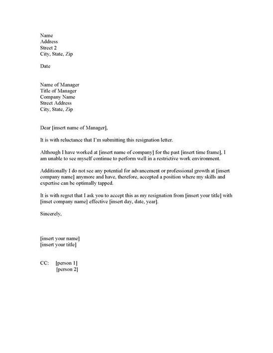The Letter Of Resignation Template