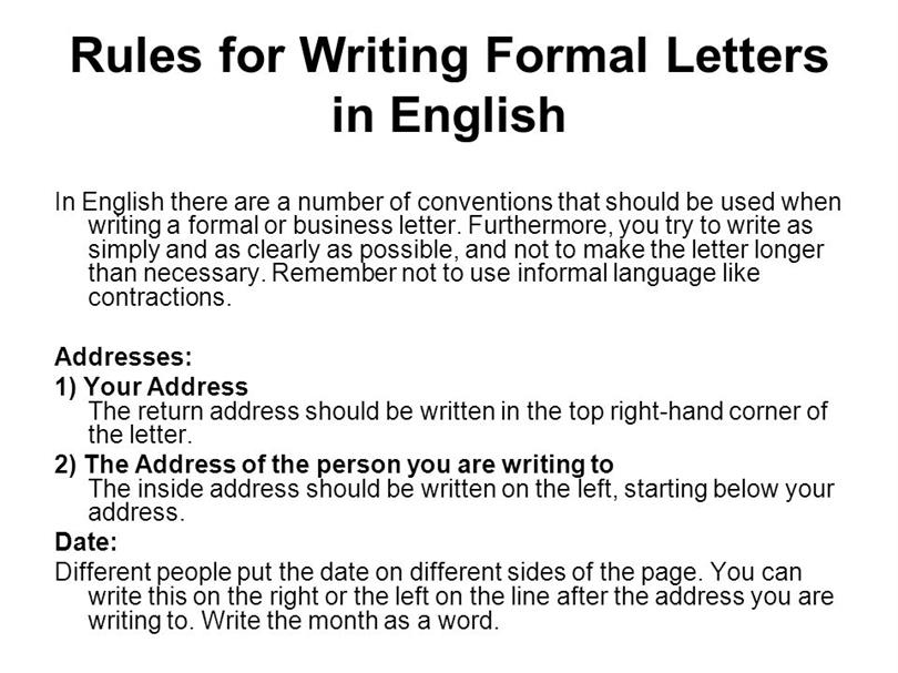 Letter Writing Rules