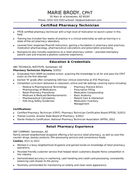 Pharmacy Technician Resume  Certified Pharmacy Technician Resume