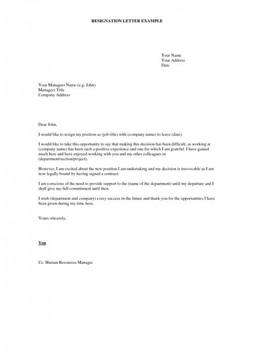 what to put in a resignation letter