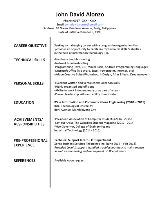Resume Format Examples