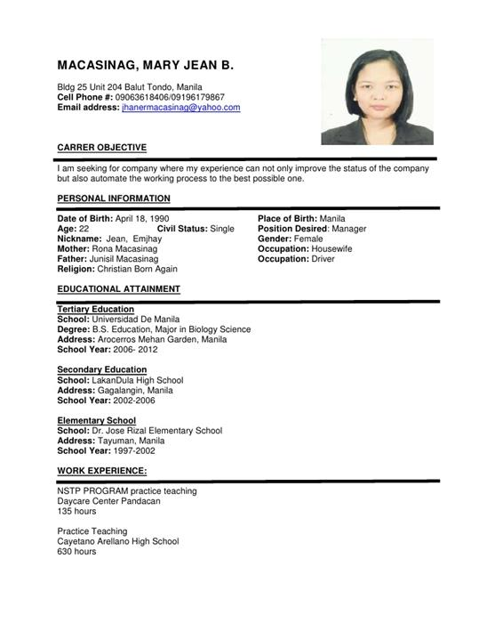 how should be the resume format