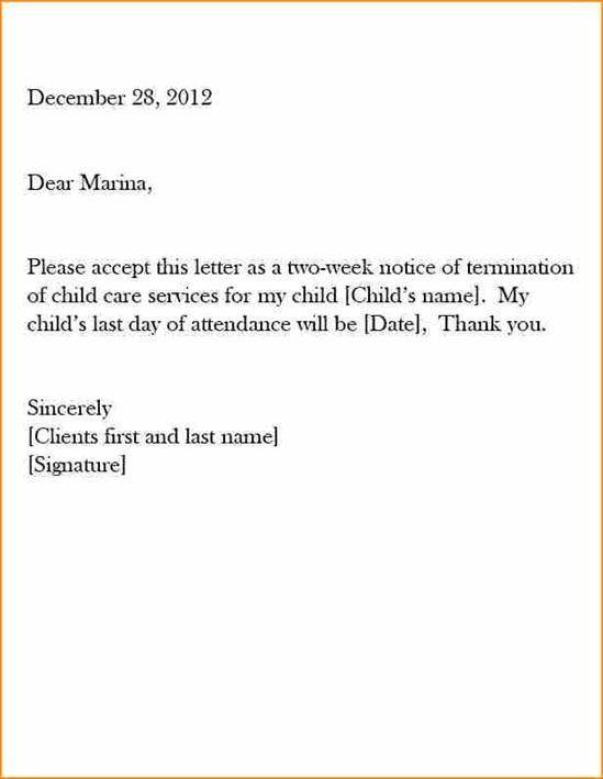 Dental Assistant  Weeks Notice Letter
