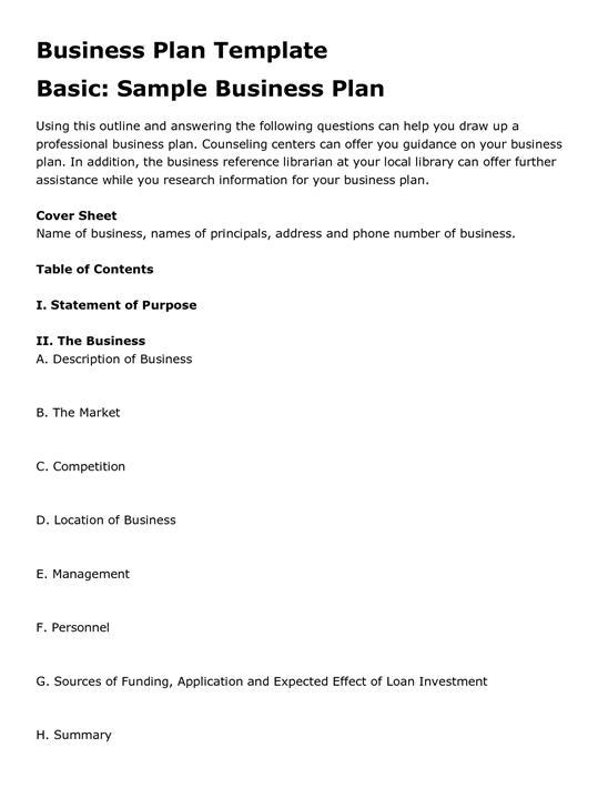 Business Plan Template - Best business plan template